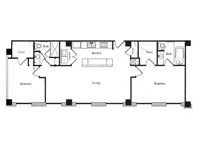 1,220 sq. ft. N floor plan