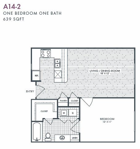 639 sq. ft. A14-2 floor plan