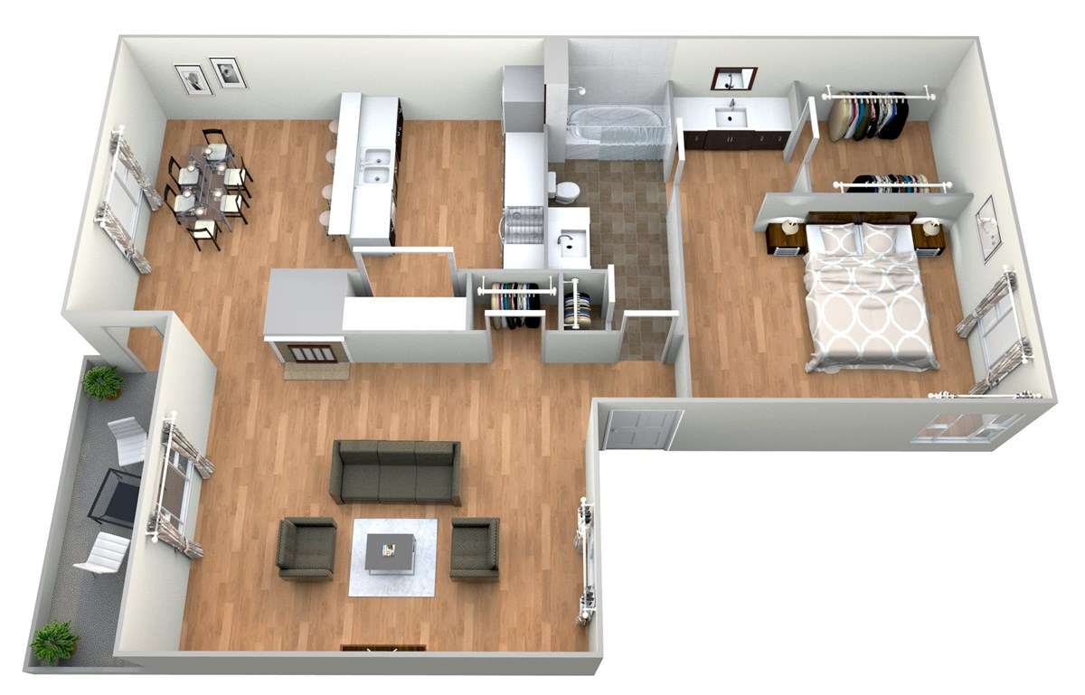874 sq. ft. 1x1 G floor plan