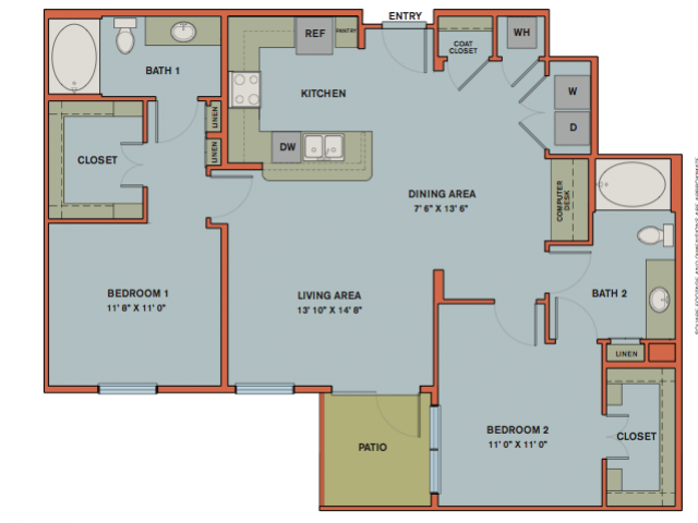 1,189 sq. ft. B7 floor plan