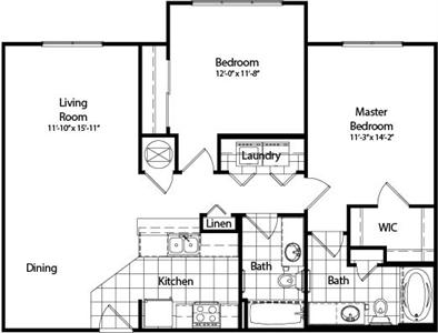1,047 sq. ft. B3 floor plan