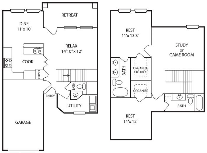 1,400 sq. ft. B1 floor plan