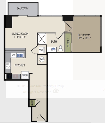 948 sq. ft. F1 floor plan