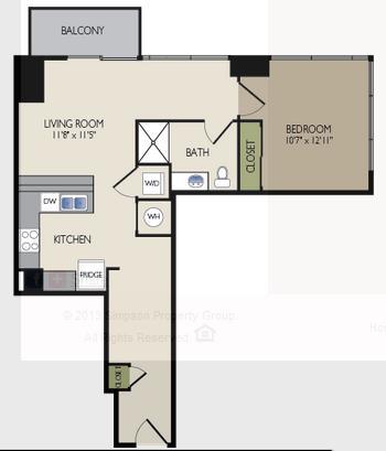 948 sq. ft. F1 floor plan