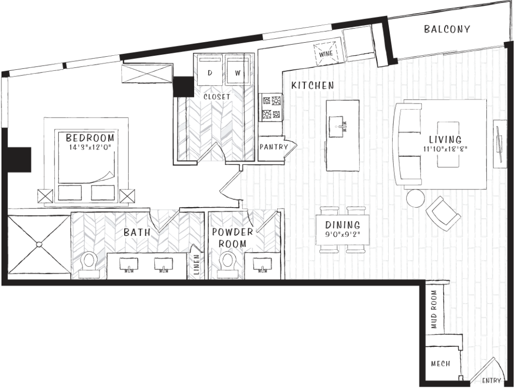 1,003 sq. ft. A8 floor plan