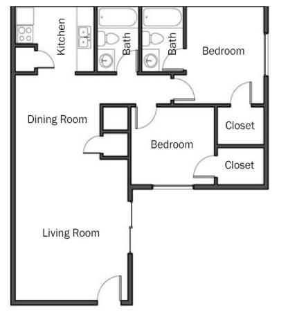 855 sq. ft. B3 floor plan