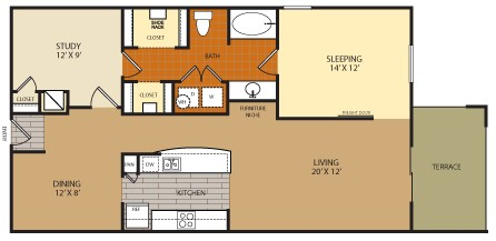 1,110 sq. ft. A7 floor plan