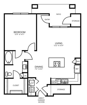 873 sq. ft. A8G floor plan