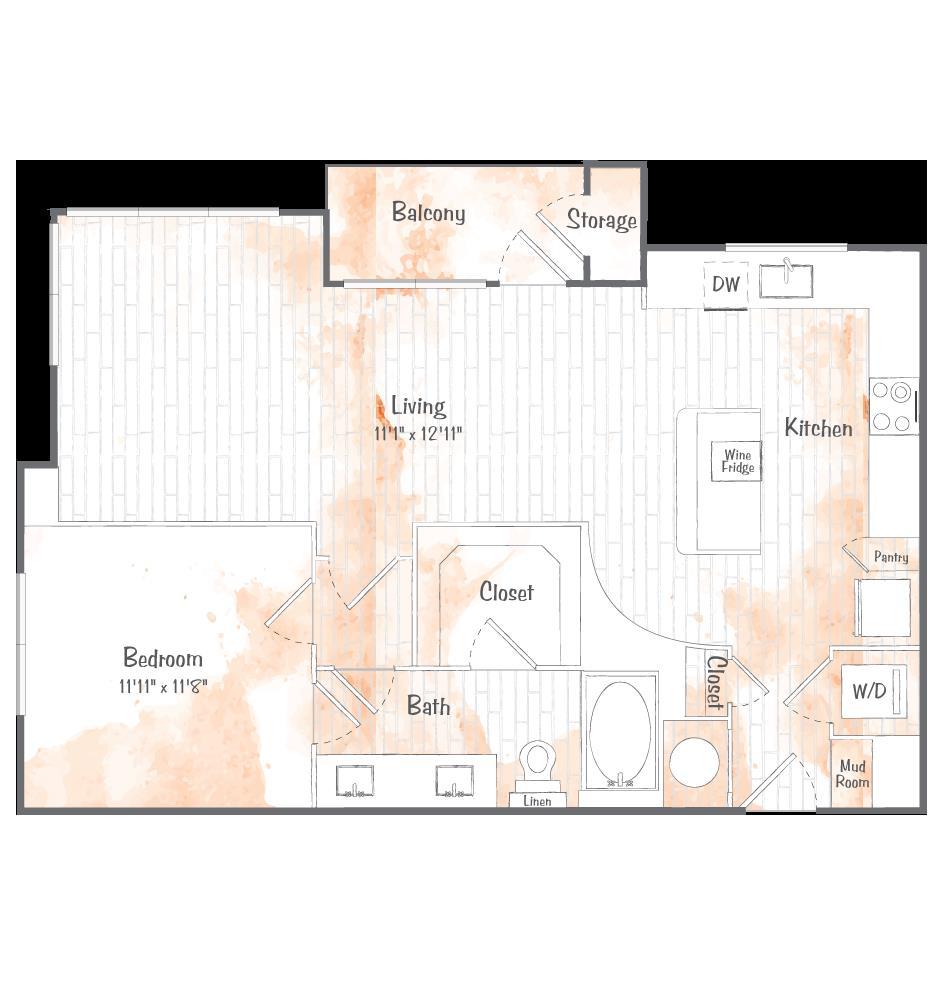 875 sq. ft. A9 floor plan