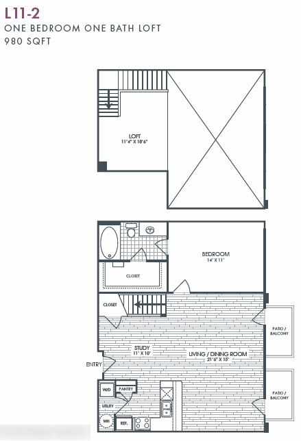 980 sq. ft. L11-2 floor plan