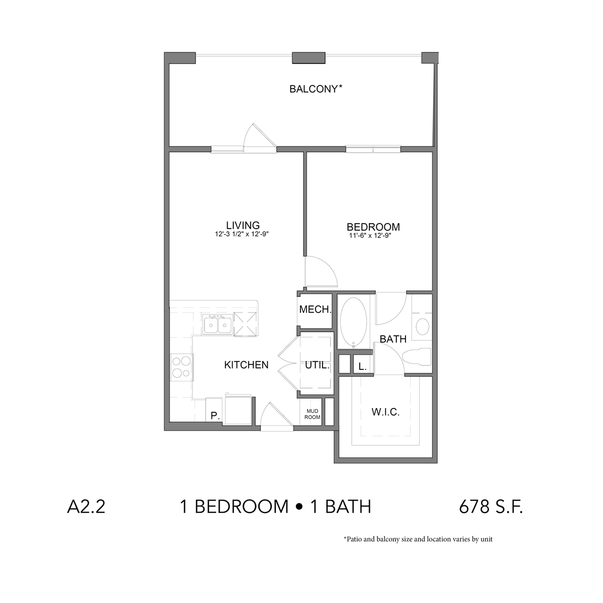 675 sq. ft. A2.2 floor plan