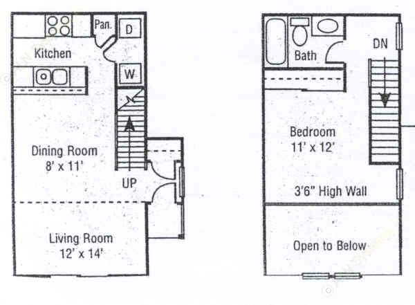 695 sq. ft. A3 floor plan