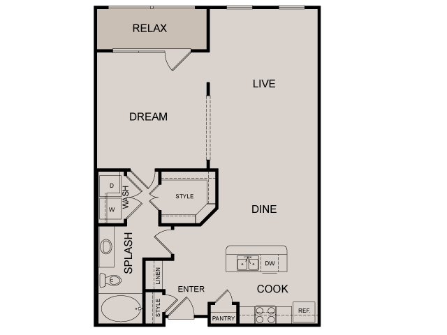 888 sq. ft. Broadway floor plan