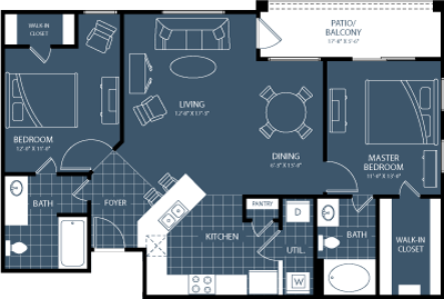 1,046 sq. ft. to 1,074 sq. ft. B3 floor plan