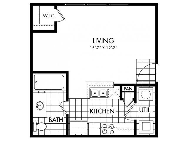 430 sq. ft. EFF floor plan