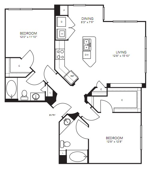 1,134 sq. ft. B8 floor plan