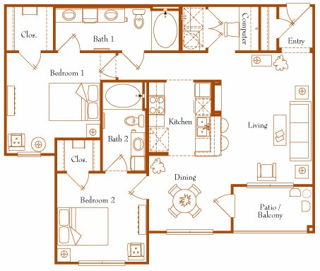 1,100 sq. ft. Neptune 22B floor plan
