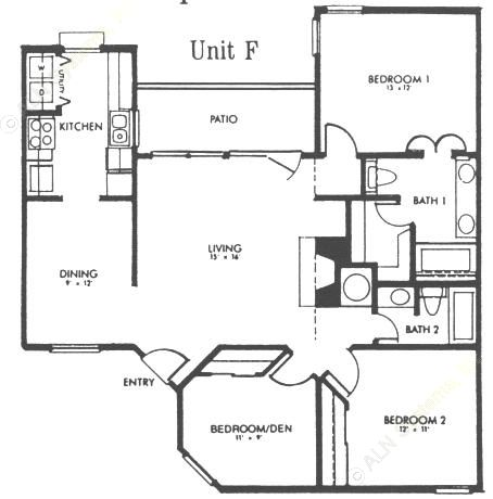 1,211 sq. ft. F floor plan