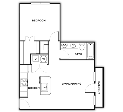 524 sq. ft. Florence/Smart floor plan