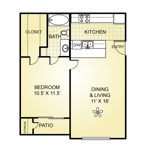 518 sq. ft. A-1 floor plan