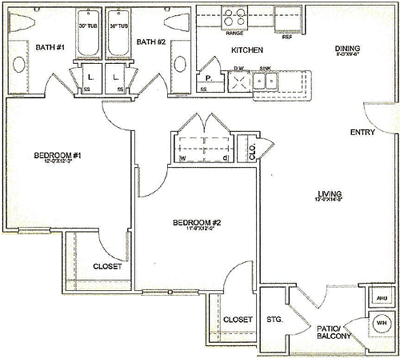 1,053 sq. ft. 60% floor plan
