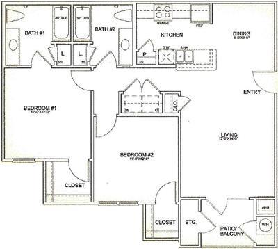 1,053 sq. ft. 60% floor plan