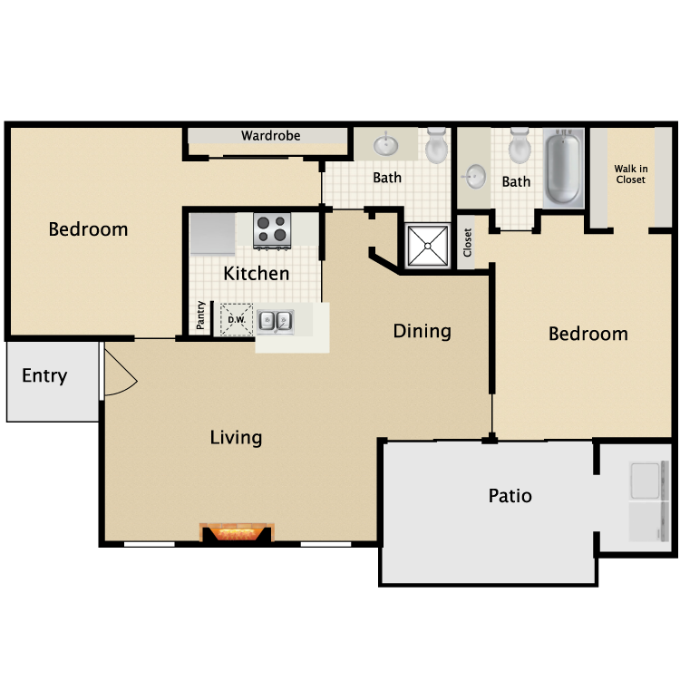892 sq. ft. E1/E2 floor plan