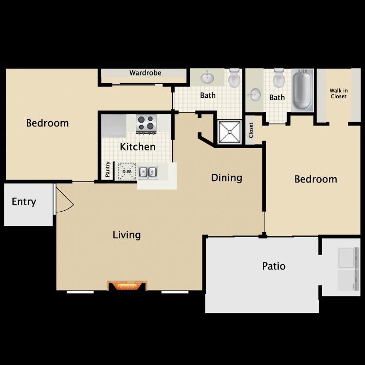 892 sq. ft. E1/E2 floor plan