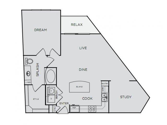 892 sq. ft. A4a floor plan