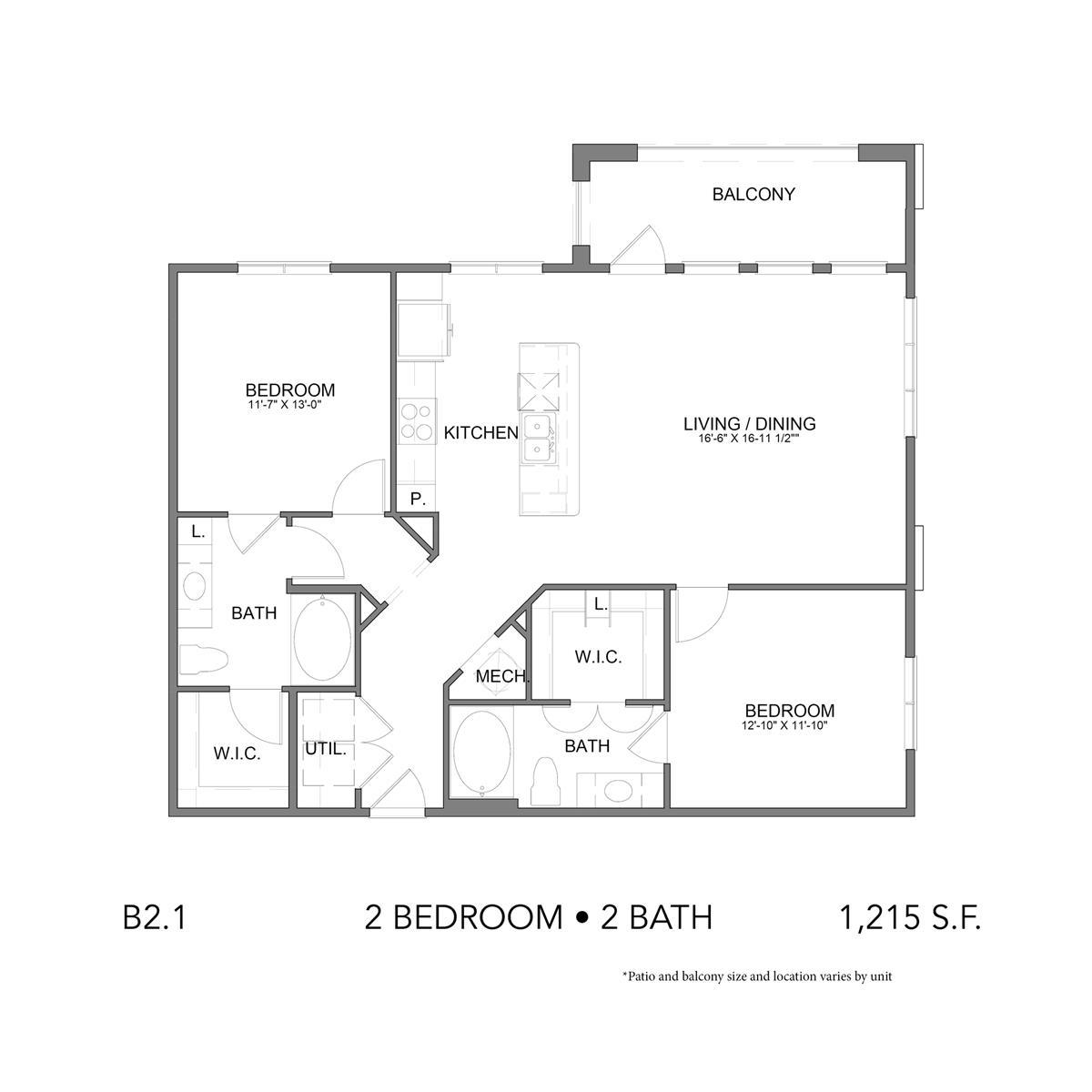 1,140 sq. ft. B2.1 floor plan