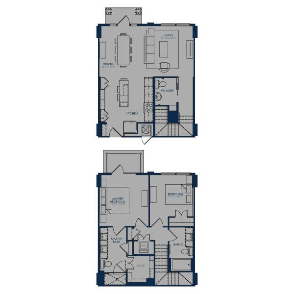 1,292 sq. ft. TH floor plan