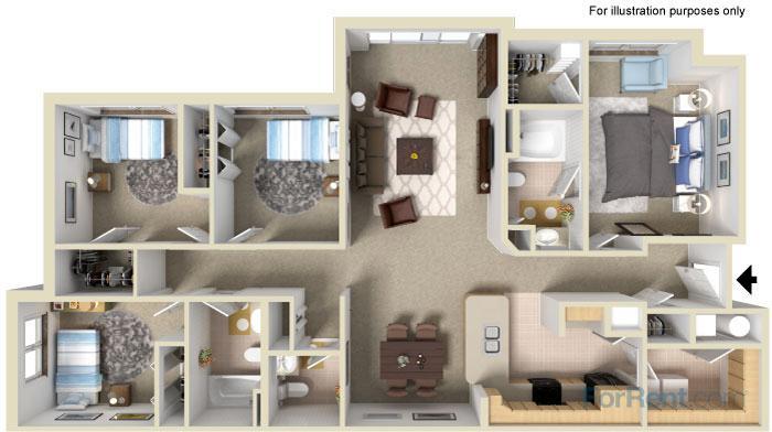 1,480 sq. ft. 60% floor plan