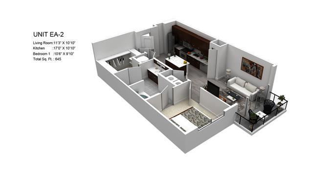 645 sq. ft. Meyer/EA-2 floor plan