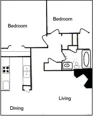 808 sq. ft. B1 floor plan