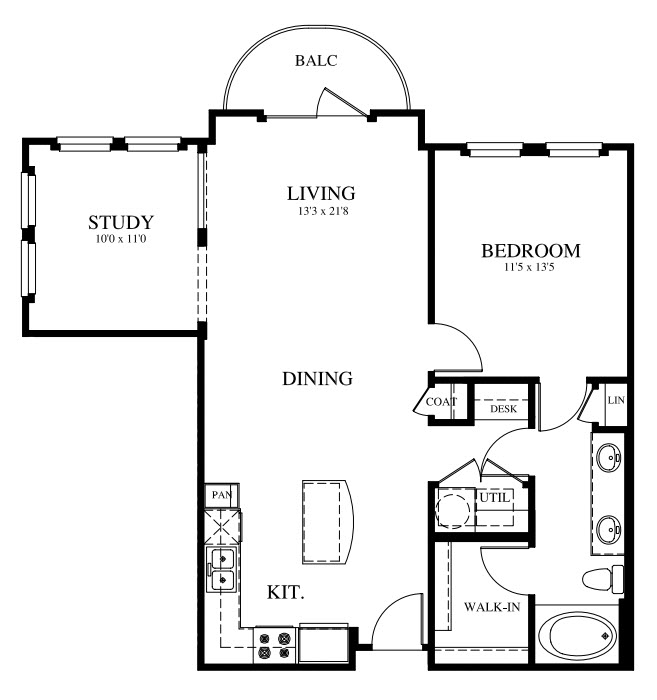 938 sq. ft. A3 floor plan