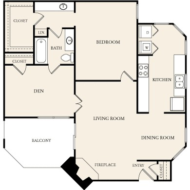 1,067 sq. ft. A5D floor plan
