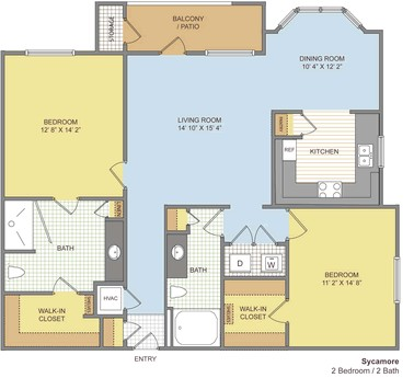 1,205 sq. ft. Sycamore floor plan