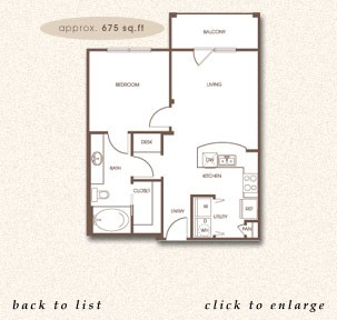 675 sq. ft. A-1 floor plan