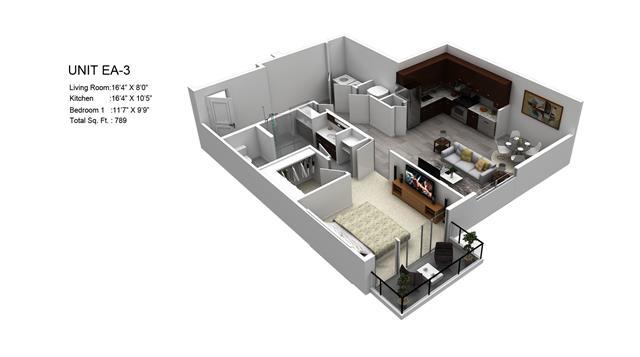 789 sq. ft. Juniper/EA-3 floor plan