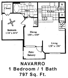 797 sq. ft. Navarr floor plan