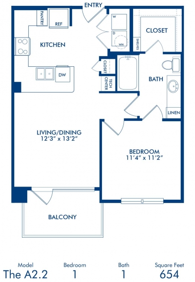 654 sq. ft. A2.2 floor plan