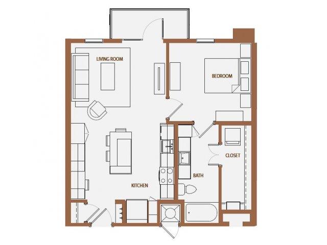 704 sq. ft. A3-2 floor plan