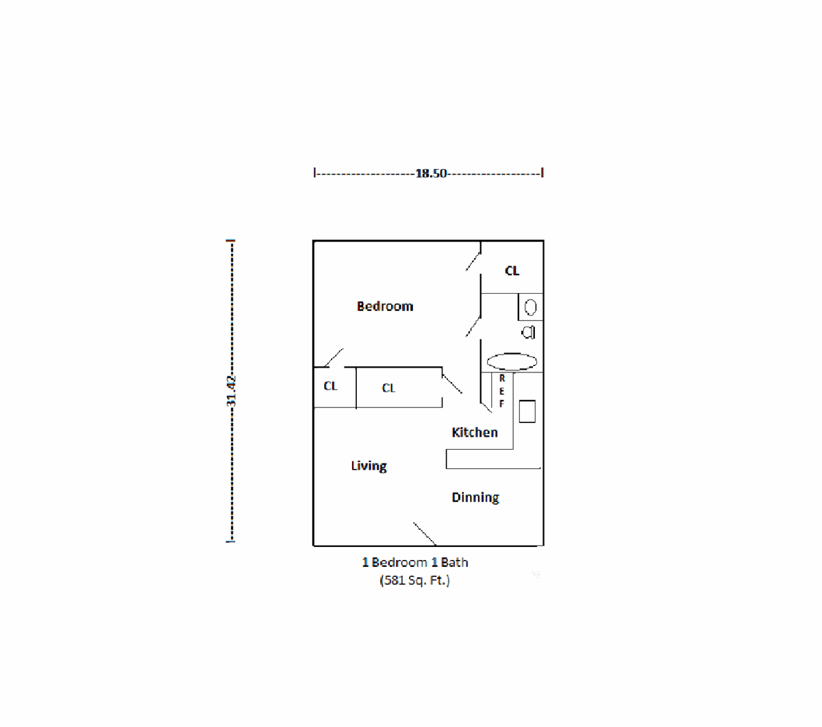 581 sq. ft. floor plan