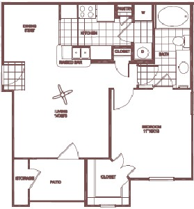 679 sq. ft. Post Oak floor plan
