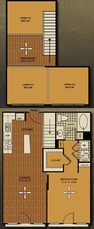 842 sq. ft. A1M floor plan