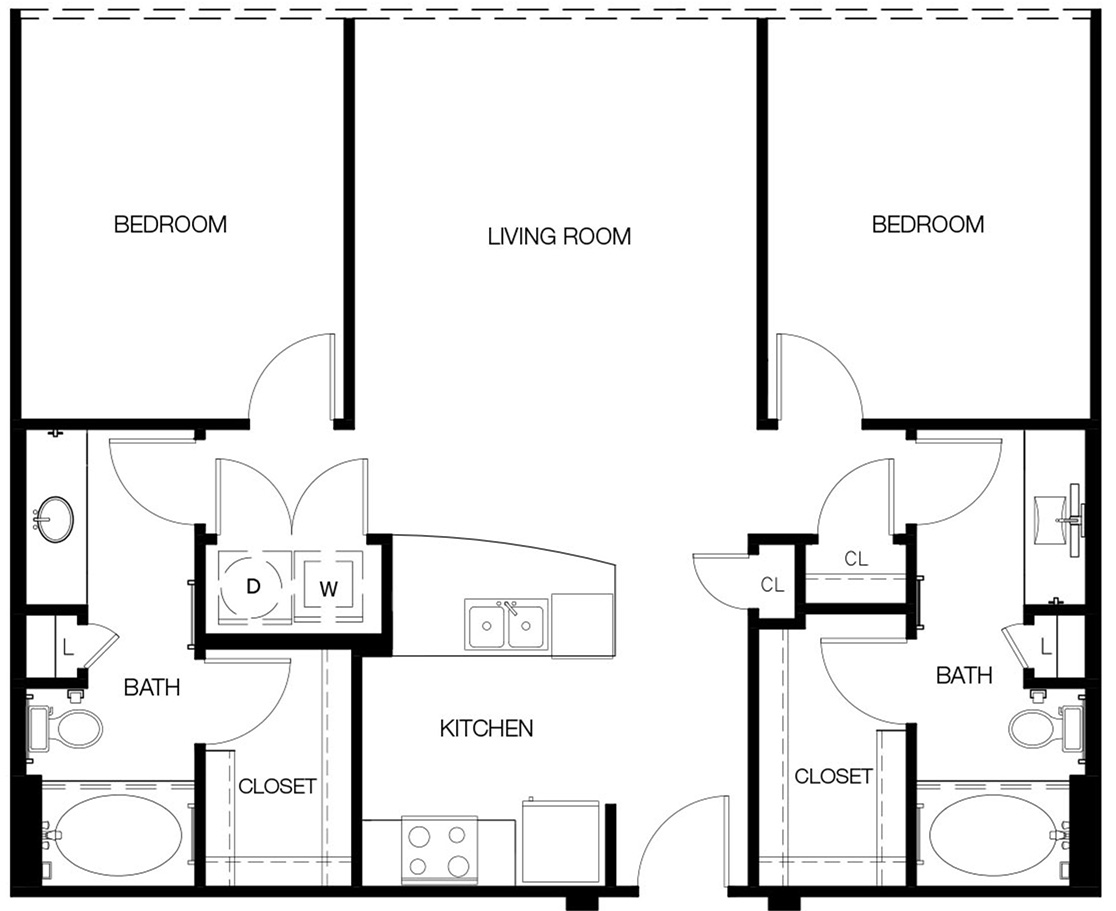 1,051 sq. ft. to 1,104 sq. ft. B1-A Alt floor plan