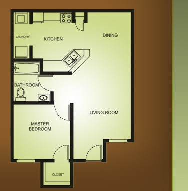 680 sq. ft. A1-OAK COTTAGE 60% floor plan