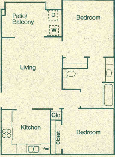 704 sq. ft. B1 floor plan