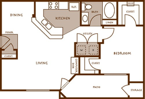 750 sq. ft. Acacia floor plan