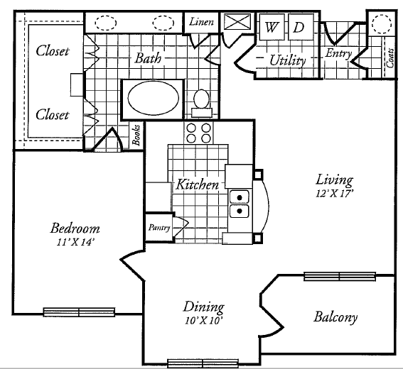 924 sq. ft. B floor plan